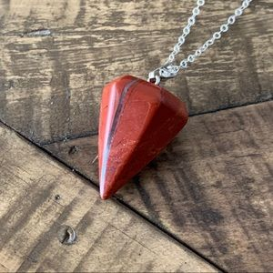 Red Jasper Pyramid Pendant Necklace